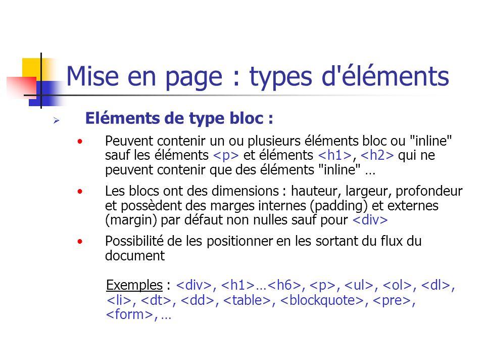 Mise en page : types d'éléments Eléments de type bloc : Peuvent contenir un ou plusieurs éléments bloc ou