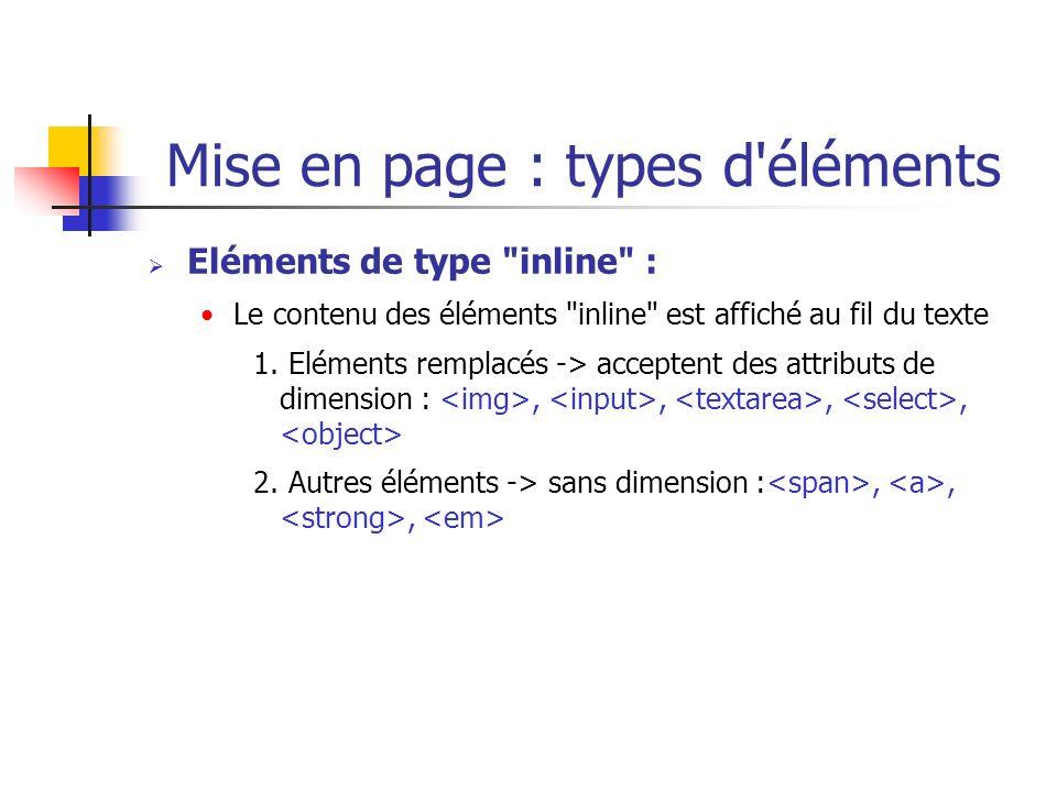 Mise en page : types d'éléments Eléments de type