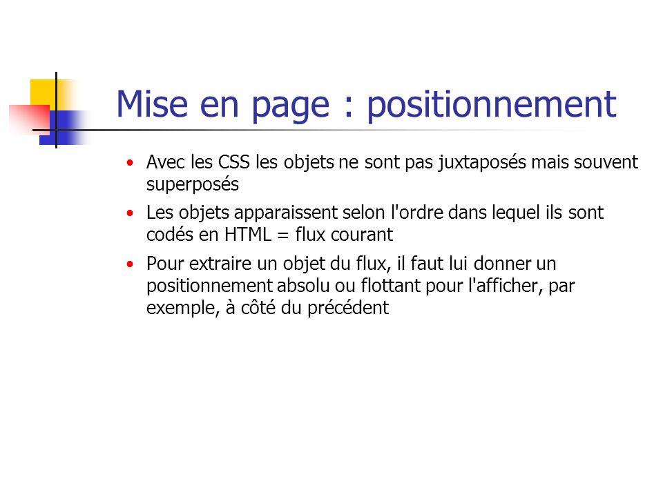 Mise en page : positionnement Avec les CSS les objets ne sont pas juxtaposés mais souvent superposés Les objets apparaissent selon l'ordre dans lequel