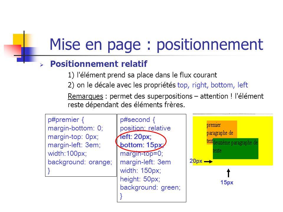 Mise en page : positionnement Positionnement relatif 1) l'élément prend sa place dans le flux courant 2) on le décale avec les propriétés top, right,