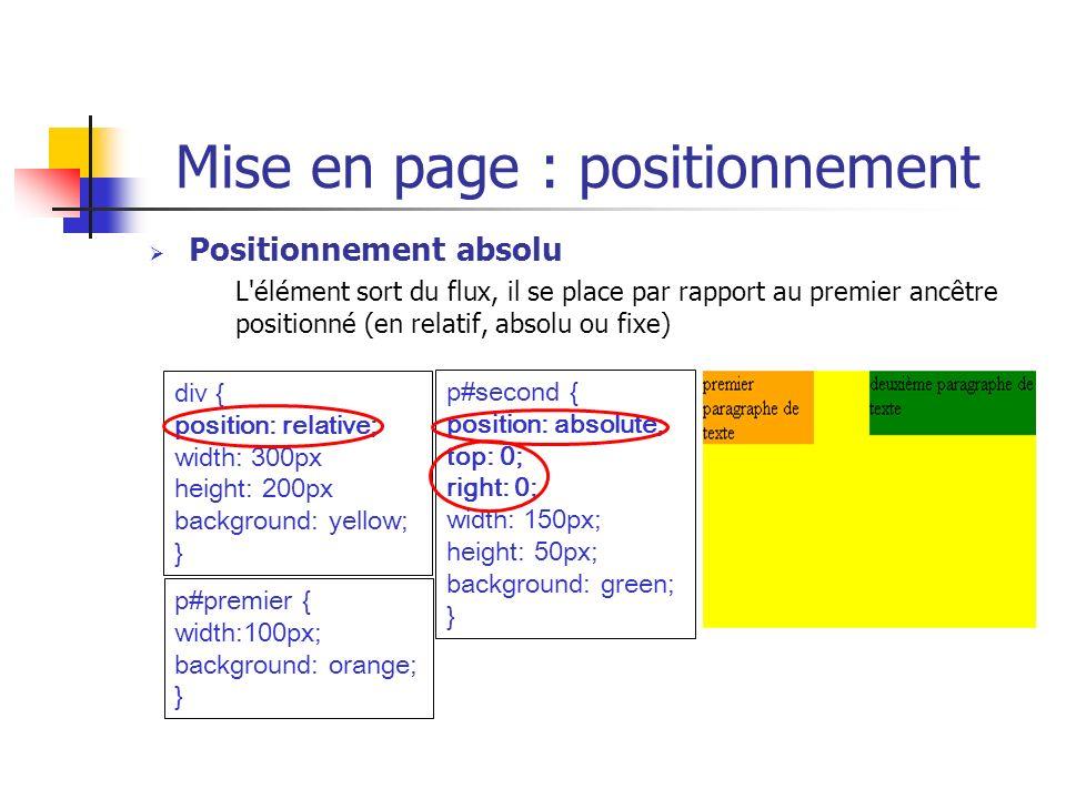 Mise en page : positionnement Positionnement absolu L'élément sort du flux, il se place par rapport au premier ancêtre positionné (en relatif, absolu