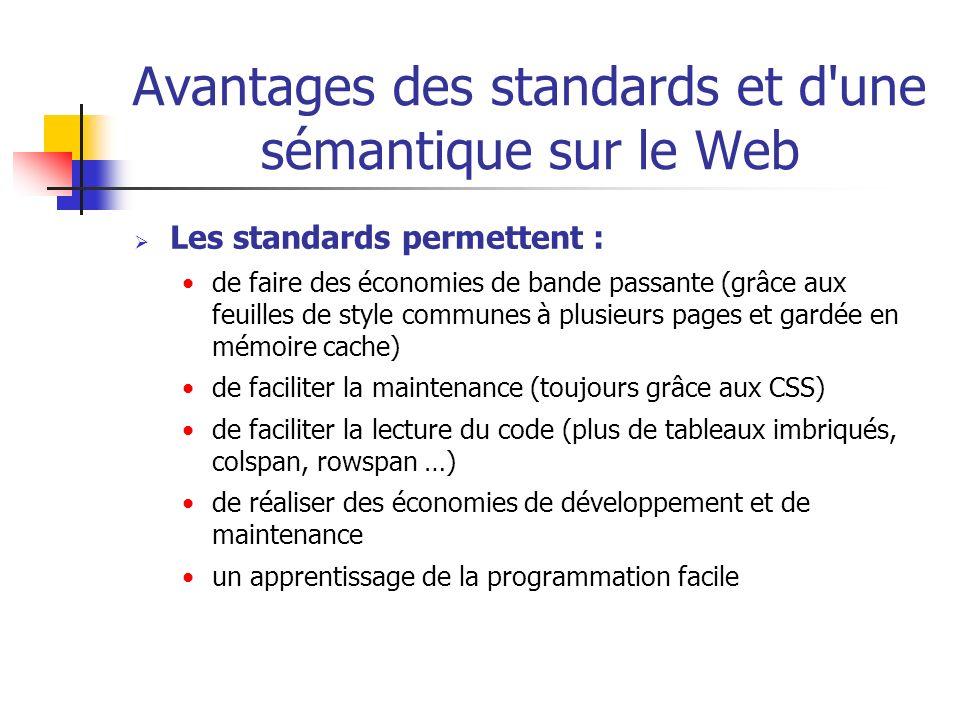 Avantages des standards et d'une sémantique sur le Web Les standards permettent : de faire des économies de bande passante (grâce aux feuilles de styl