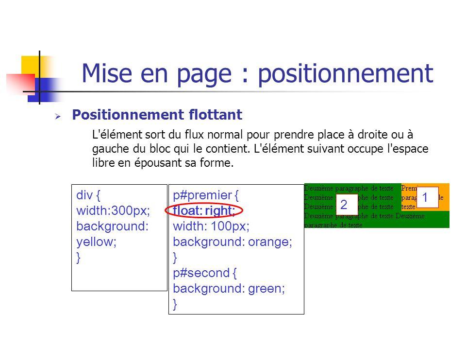 Mise en page : positionnement Positionnement flottant L'élément sort du flux normal pour prendre place à droite ou à gauche du bloc qui le contient. L