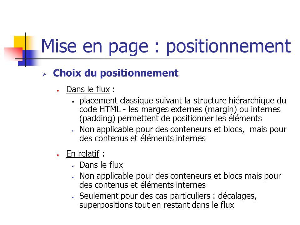 Mise en page : positionnement Choix du positionnement Dans le flux : placement classique suivant la structure hiérarchique du code HTML - les marges e