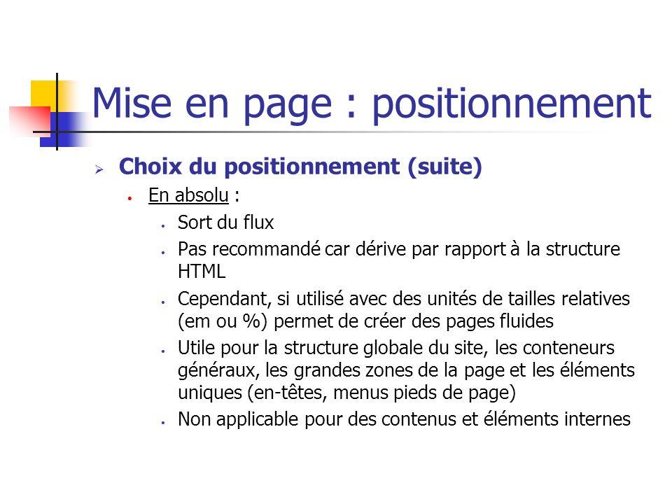 Mise en page : positionnement Choix du positionnement (suite) En absolu : Sort du flux Pas recommandé car dérive par rapport à la structure HTML Cepen