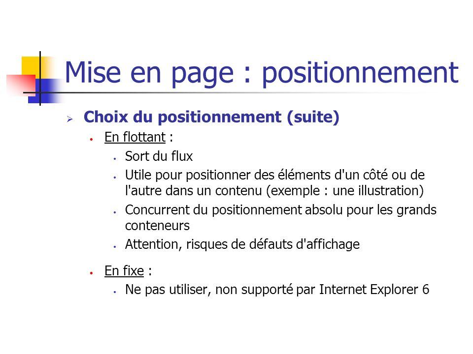 Mise en page : positionnement Choix du positionnement (suite) En flottant : Sort du flux Utile pour positionner des éléments d'un côté ou de l'autre d