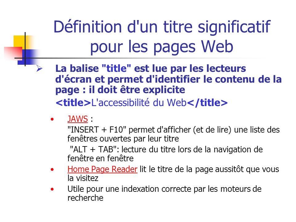Définition d'un titre significatif pour les pages Web La balise