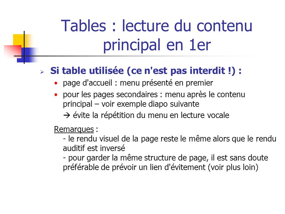 Tables : lecture du contenu principal en 1er Si table utilisée (ce n'est pas interdit !) : page d'accueil : menu présenté en premier pour les pages se