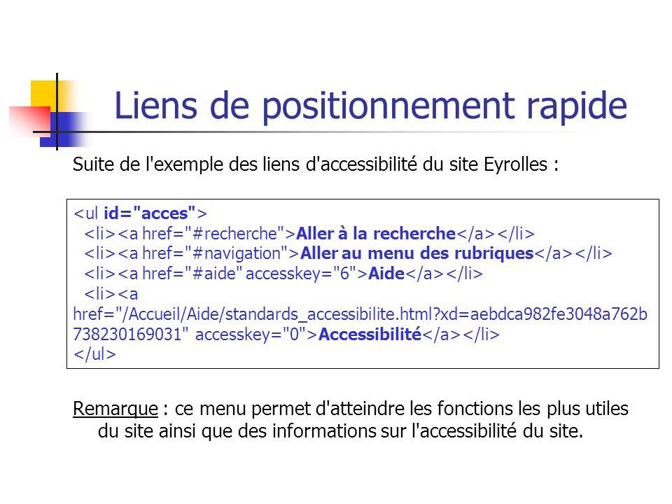 Liens de positionnement rapide Suite de l'exemple des liens d'accessibilité du site Eyrolles : Remarque : ce menu permet d'atteindre les fonctions les