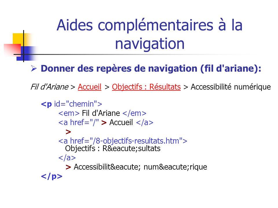Aides complémentaires à la navigation Donner des repères de navigation (fil d'ariane): Fil d'Ariane > Accueil > Objectifs : Résultats > Accessibilité