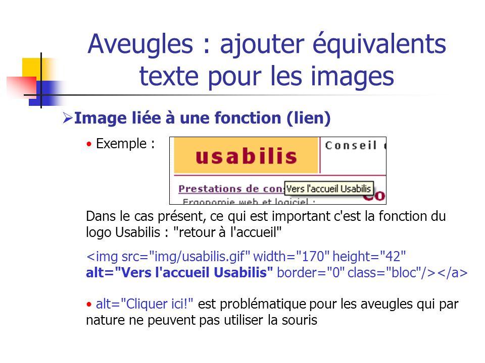Aveugles : ajouter équivalents texte pour les images Image liée à une fonction (lien) Exemple : Dans le cas présent, ce qui est important c'est la fon
