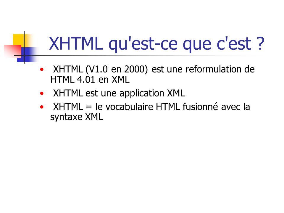 XHTML qu'est-ce que c'est ? XHTML (V1.0 en 2000) est une reformulation de HTML 4.01 en XML XHTML est une application XML XHTML = le vocabulaire HTML f