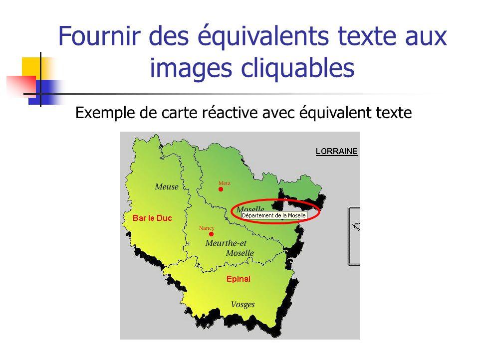Fournir des équivalents texte aux images cliquables Exemple de carte réactive avec équivalent texte