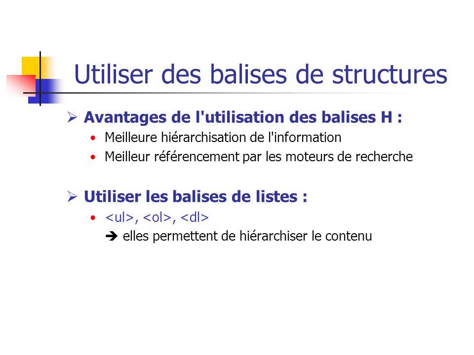 Utiliser des balises de structures Avantages de l'utilisation des balises H : Meilleure hiérarchisation de l'information Meilleur référencement par le