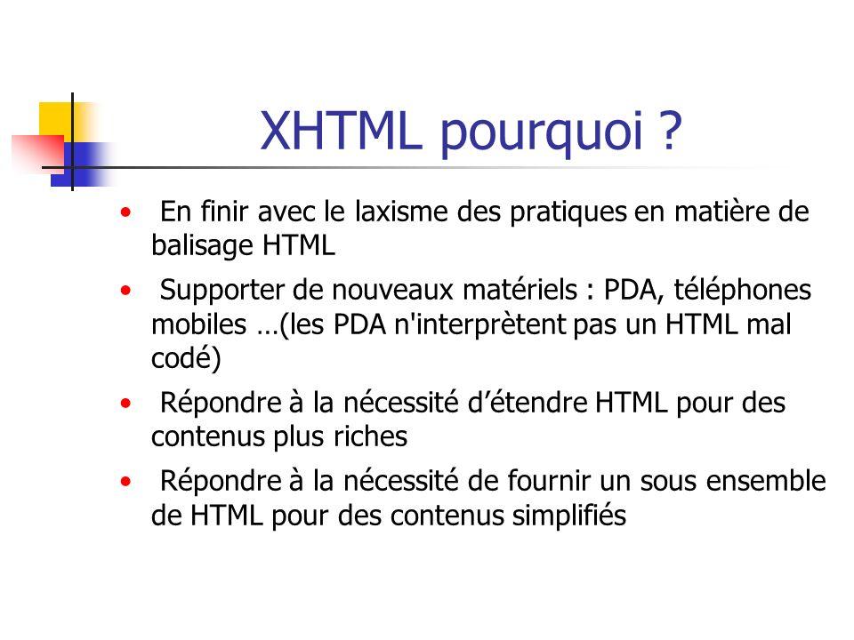 XHTML : règles de syntaxe Réduction des attributs non admise : - en HTML : select name = toto size = 5 multiple - en XHTML : select name = toto size = 5 multiple = multiple