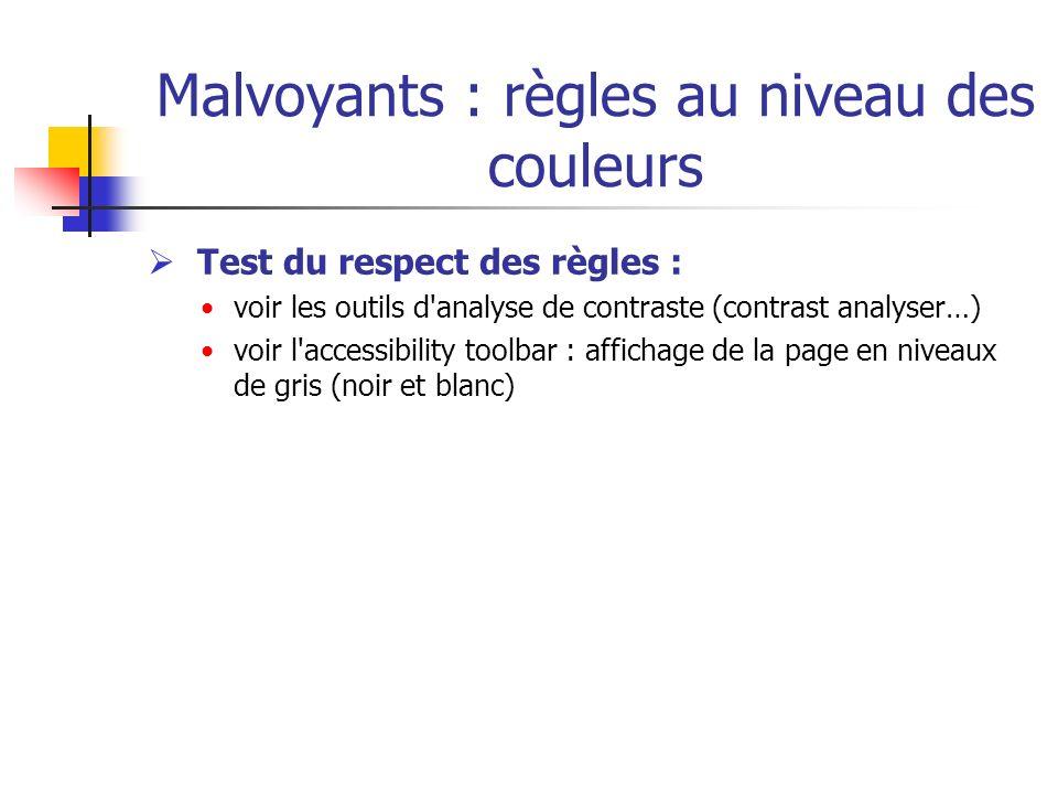 Malvoyants : règles au niveau des couleurs Test du respect des règles : voir les outils d'analyse de contraste (contrast analyser…) voir l'accessibili