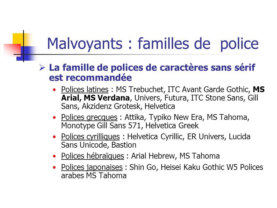Malvoyants : familles de police La famille de polices de caractères sans sérif est recommandée Polices latines : MS Trebuchet, ITC Avant Garde Gothic,