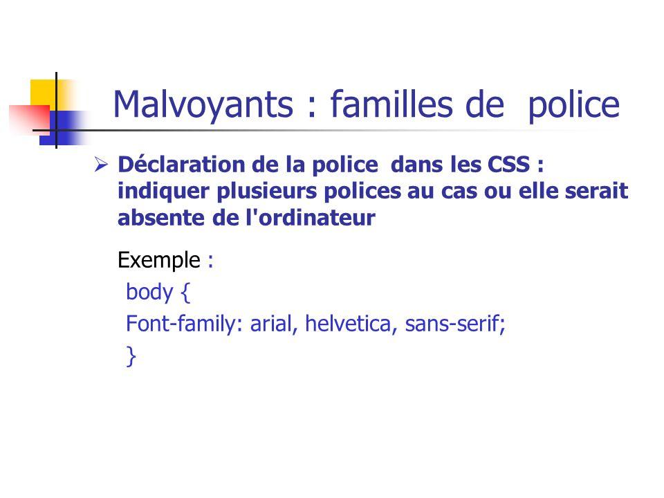 Malvoyants : familles de police Déclaration de la police dans les CSS : indiquer plusieurs polices au cas ou elle serait absente de l'ordinateur Exemp