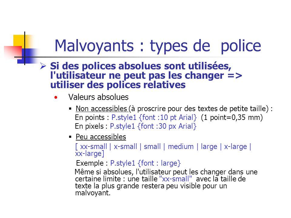 Malvoyants : types de police Si des polices absolues sont utilisées, l'utilisateur ne peut pas les changer => utiliser des polices relatives Valeurs a
