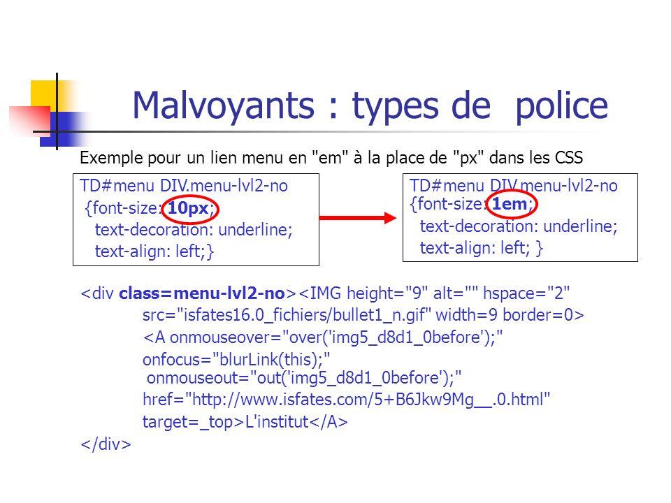 Malvoyants : types de police Exemple pour un lien menu en