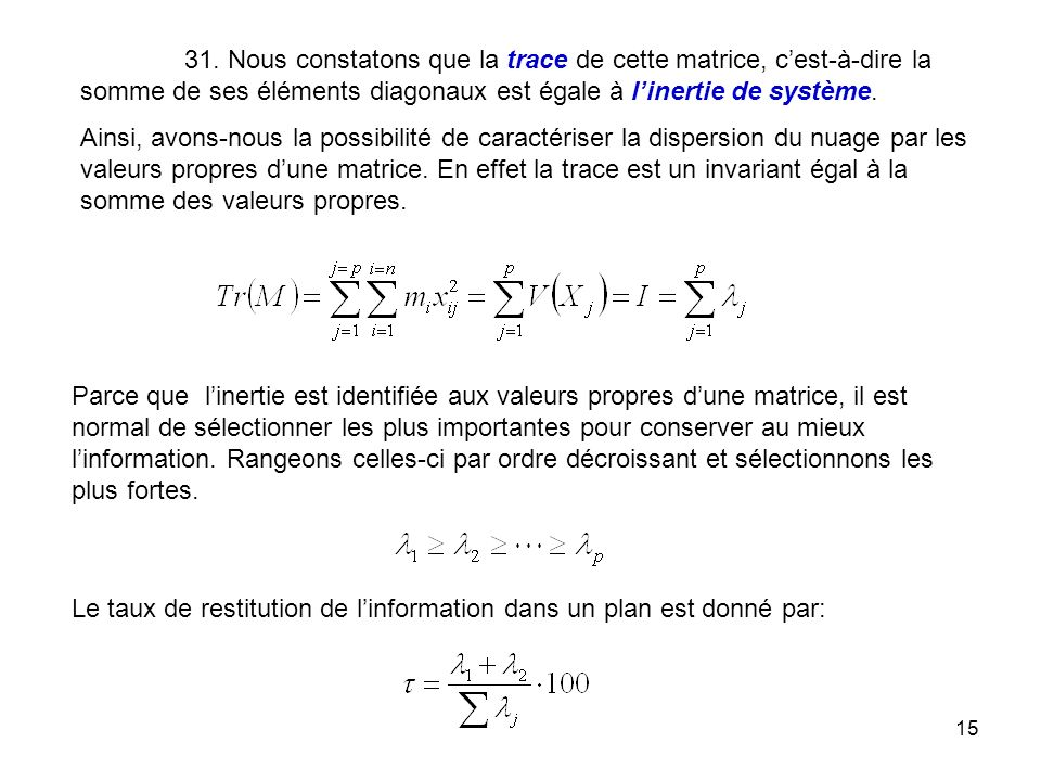 15 31. Nous constatons que la trace de cette matrice, cest-à-dire la somme de ses éléments diagonaux est égale à linertie de système. Ainsi, avons-nou
