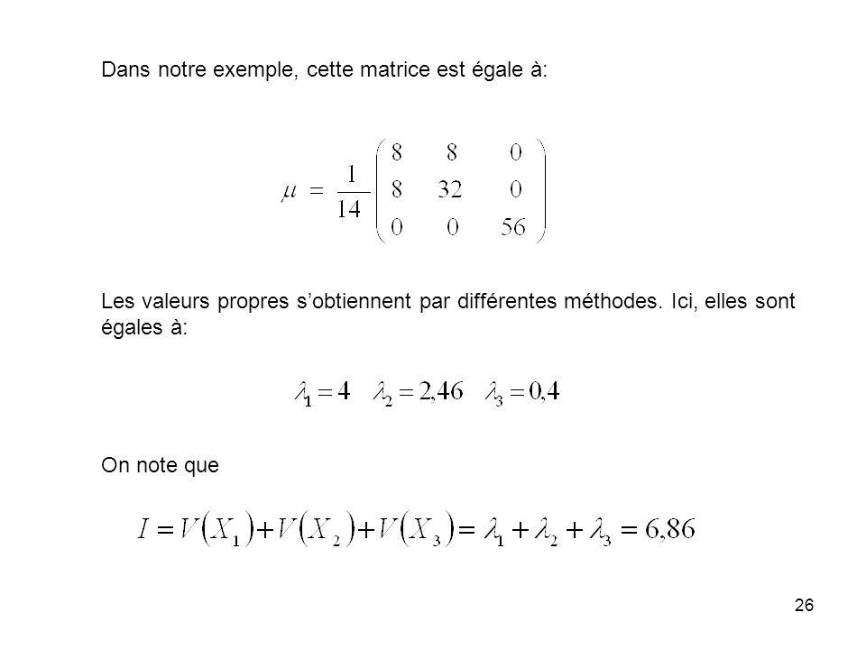 26 Dans notre exemple, cette matrice est égale à: Les valeurs propres sobtiennent par différentes méthodes. Ici, elles sont égales à: On note que