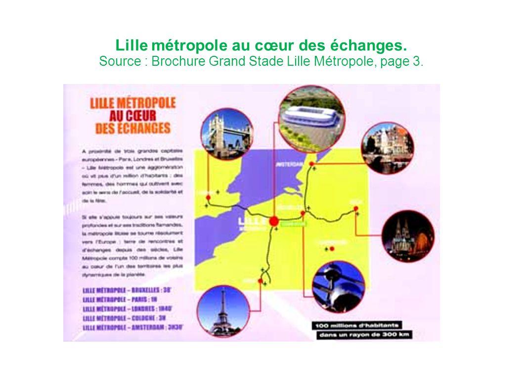Lille métropole au cœur des échanges. Source : Brochure Grand Stade Lille Métropole, page 3.