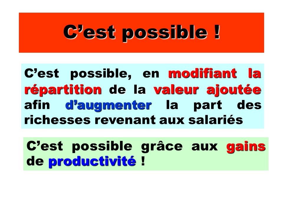 Cest possible ! gains productivité Cest possible grâce aux gains de productivité ! modifiant la répartition de la valeur ajoutée daugmenter Cest possi