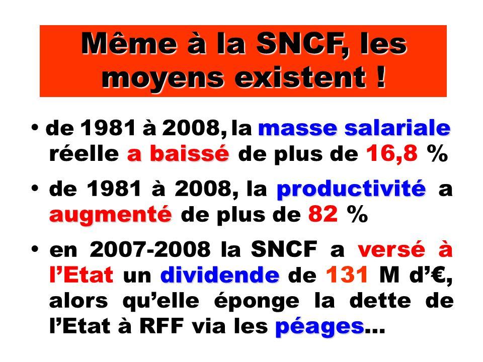 Même à la SNCF, les moyens existent .