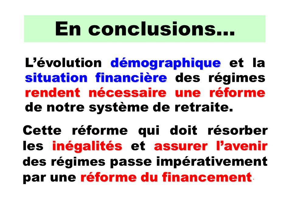 En conclusions… démographique situation financière rendent nécessaire une réforme Lévolution démographique et la situation financière des régimes rendent nécessaire une réforme de notre système de retraite.