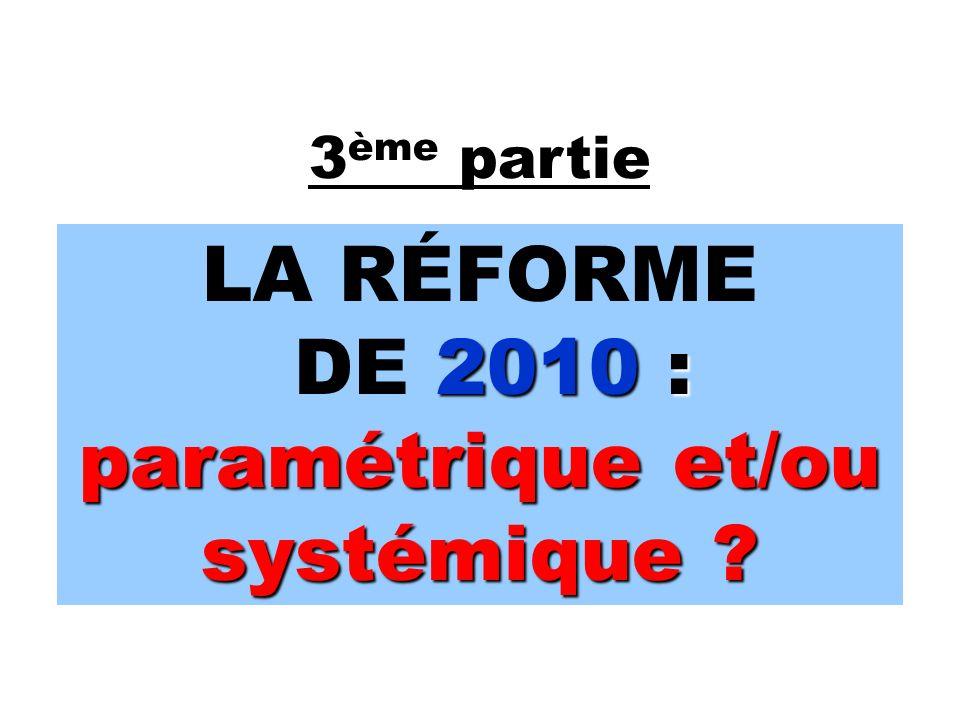 3 ème partie LA RÉFORME 2010 : paramétrique et/ou systémique .