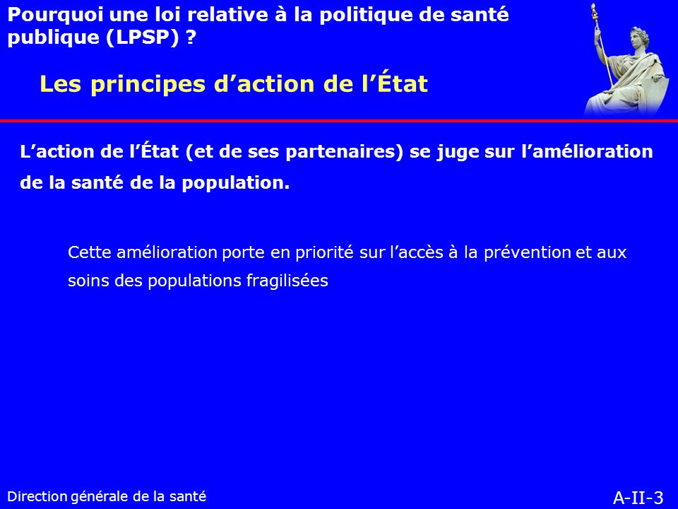 Direction générale de la santé A-II-3 Les principes daction de lÉtat Pourquoi une loi relative à la politique de santé publique (LPSP) .