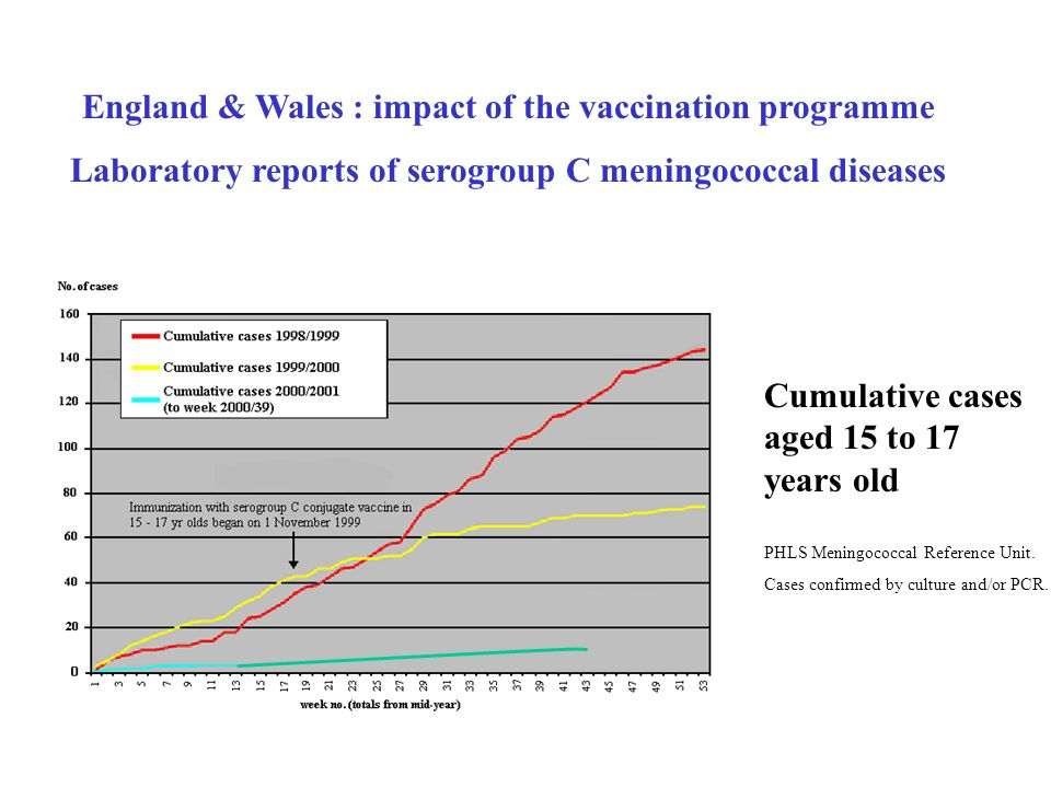 England & Wales : impact of the vaccination programme Laboratory reports of serogroup C meningococcal diseases Cumulative cases aged 15 to 17 years ol