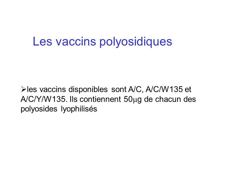 Les vaccins polyosidiques les vaccins disponibles sont A/C, A/C/W135 et A/C/Y/W135. Ils contiennent 50 g de chacun des polyosides lyophilisés