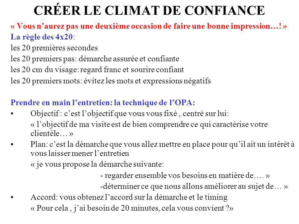 CRÉER LE CLIMAT DE CONFIANCE « Vous naurez pas une deuxième occasion de faire une bonne impression…! » La règle des 4x20: les 20 premières secondes le