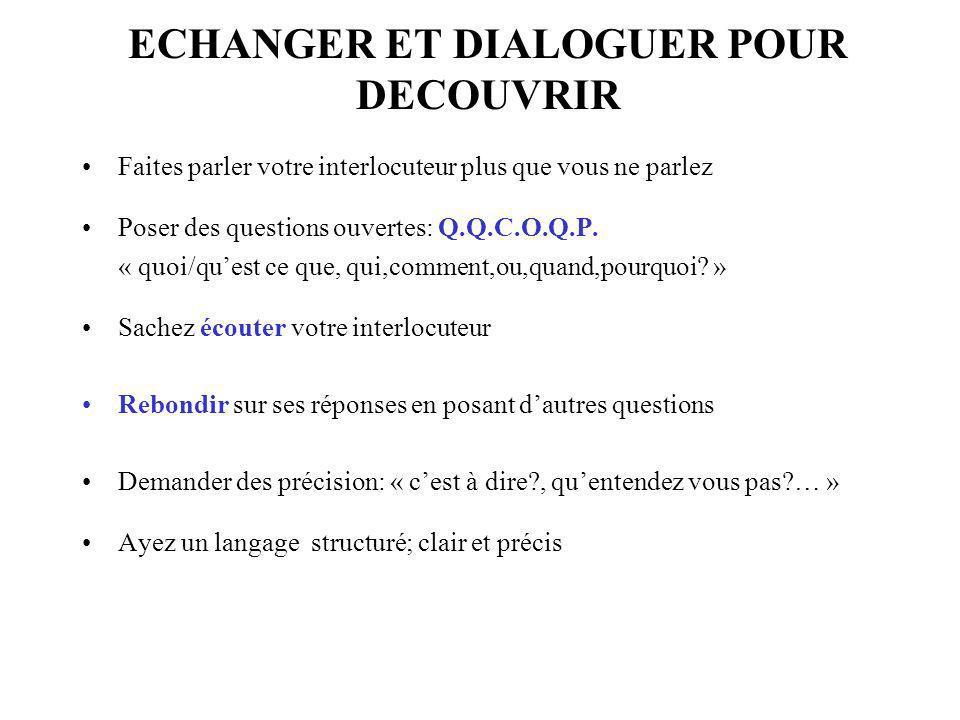 Faites parler votre interlocuteur plus que vous ne parlez Poser des questions ouvertes: Q.Q.C.O.Q.P. « quoi/quest ce que, qui,comment,ou,quand,pourquo