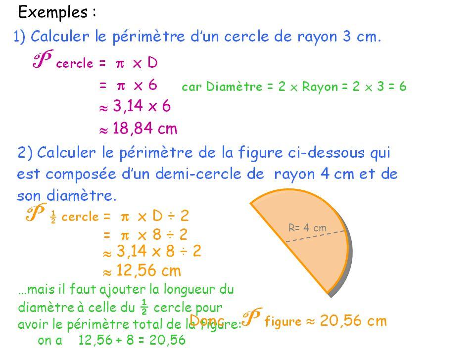 Exemples : 3,14 x 8 ÷ 2 R= 4 cm 12,56 cm 3,14 x 6 18,84 cm …mais il faut ajouter la longueur du diamètre à celle du ½ cercle pour avoir le périmètre t
