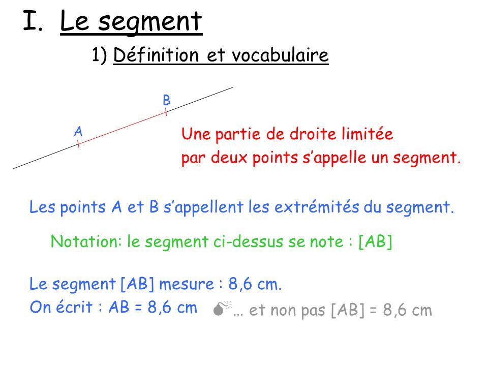 I. Le segment Une partie de droite limitée par deux points sappelle un segment. Les points A et B sappellent les extrémités du segment. Notation: le s