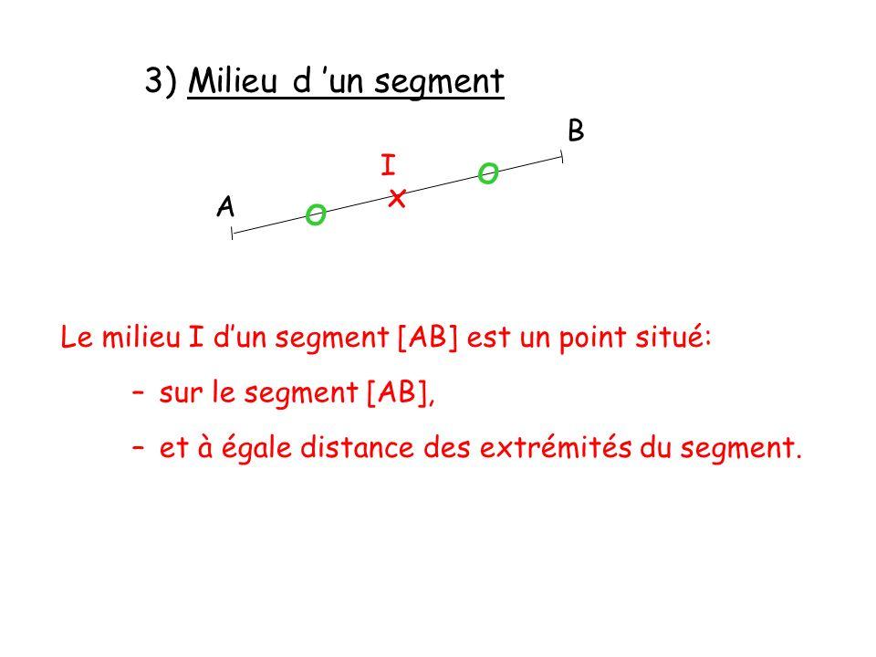 3) Milieu d un segment –et à égale distance des extrémités du segment. Le milieu I dun segment [AB] est un point situé: –sur le segment [AB], A B x I