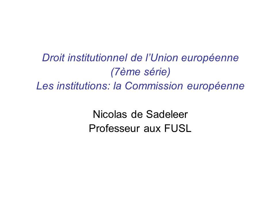 Droit institutionnel de lUnion européenne (7ème série) Les institutions: la Commission européenne Nicolas de Sadeleer Professeur aux FUSL