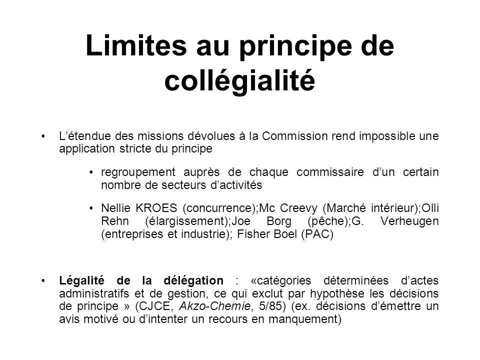 Limites au principe de collégialité Létendue des missions dévolues à la Commission rend impossible une application stricte du principe regroupement au