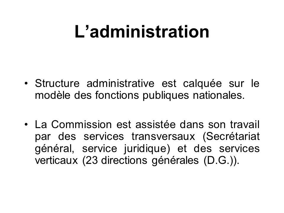 Ladministration Structure administrative est calquée sur le modèle des fonctions publiques nationales. La Commission est assistée dans son travail par