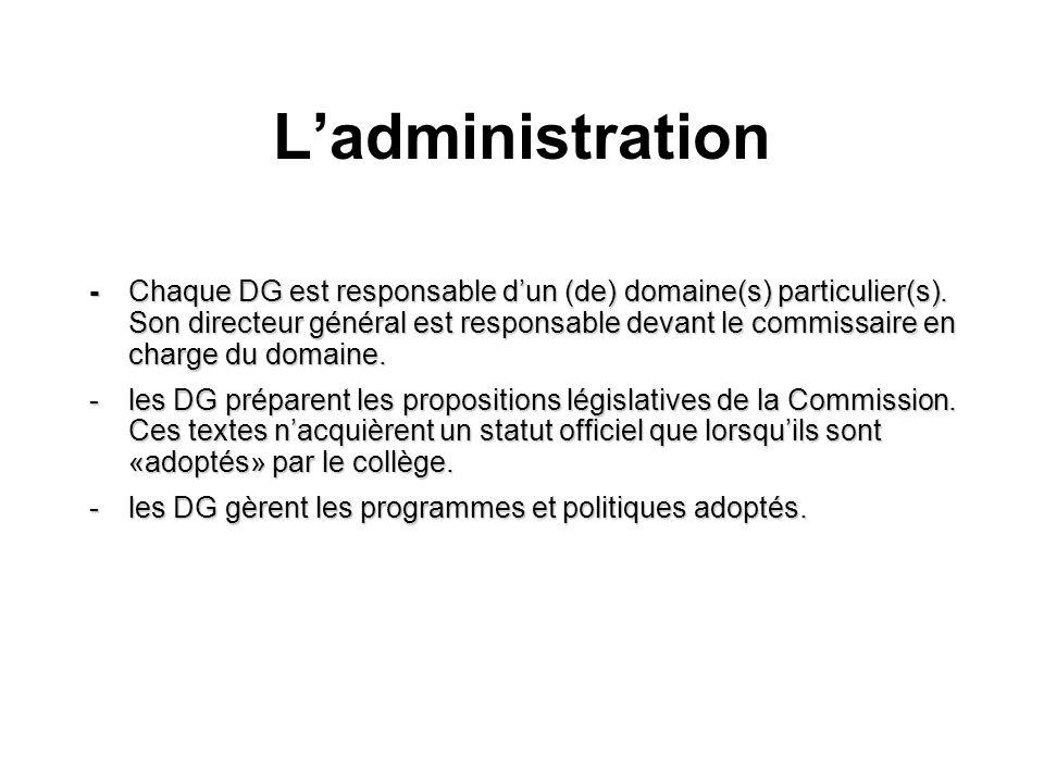 Ladministration -Chaque DG est responsable dun (de) domaine(s) particulier(s). Son directeur général est responsable devant le commissaire en charge d