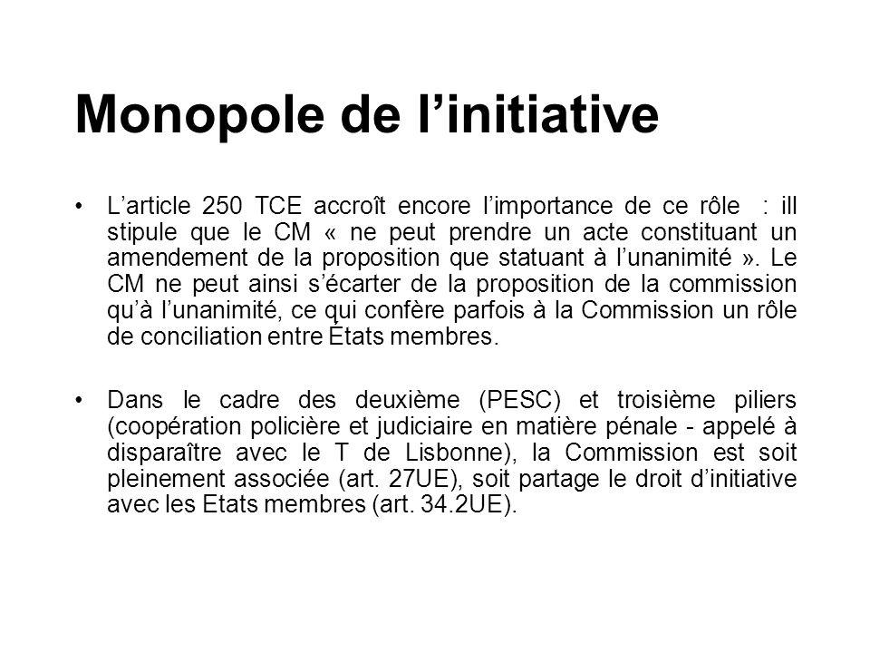 Larticle 250 TCE accroît encore limportance de ce rôle : ill stipule que le CM « ne peut prendre un acte constituant un amendement de la proposition q
