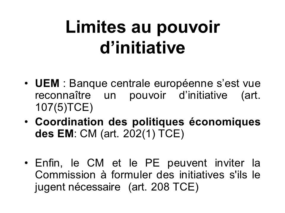 Limites au pouvoir dinitiative UEM : Banque centrale européenne sest vue reconnaître un pouvoir dinitiative (art. 107(5)TCE) Coordination des politiqu