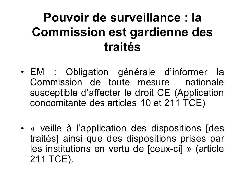 Pouvoir de surveillance : la Commission est gardienne des traités EM : Obligation générale dinformer la Commission de toute mesure nationale susceptib