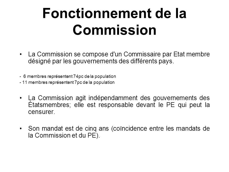 Fonctionnement de la Commission La Commission se compose d'un Commissaire par Etat membre désigné par les gouvernements des différents pays. - 6 membr