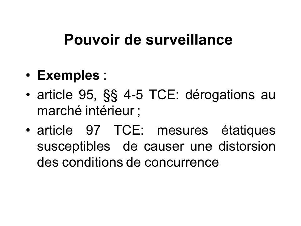 Pouvoir de surveillance Exemples : article 95, §§ 4-5 TCE: dérogations au marché intérieur ; article 97 TCE: mesures étatiques susceptibles de causer