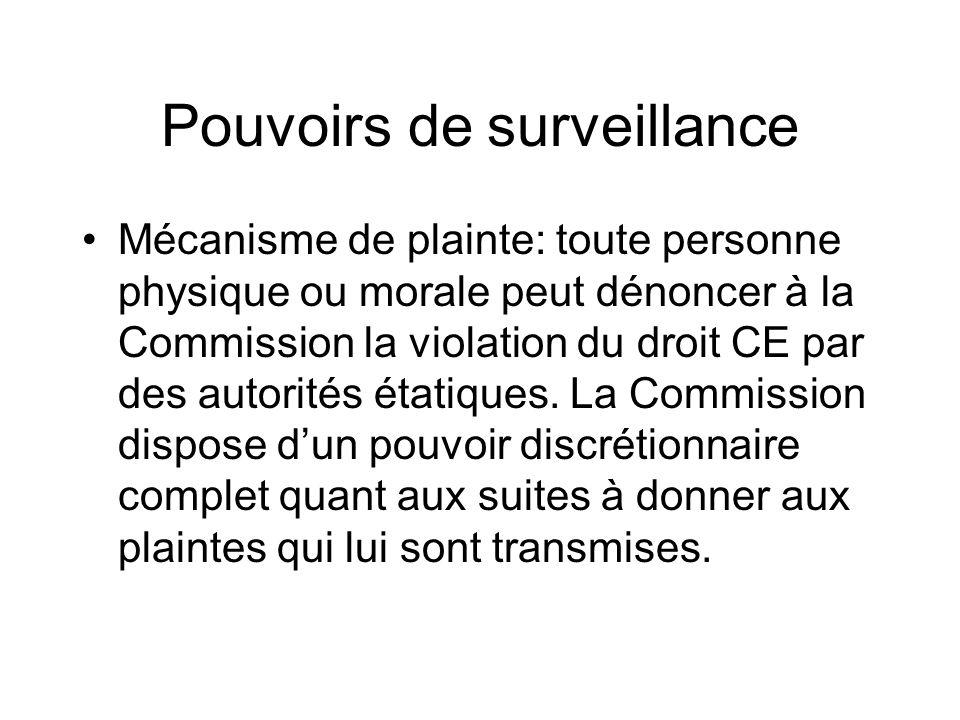Pouvoirs de surveillance Mécanisme de plainte: toute personne physique ou morale peut dénoncer à la Commission la violation du droit CE par des autori