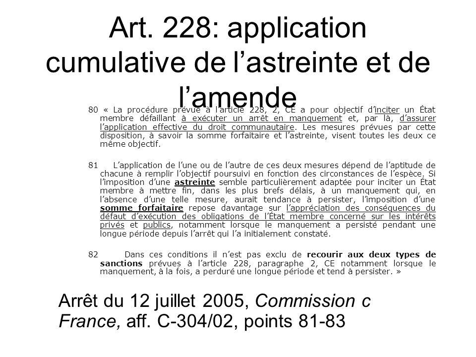 Art. 228: application cumulative de lastreinte et de lamende 80 « La procédure prévue à larticle 228, 2, CE a pour objectif dinciter un État membre dé